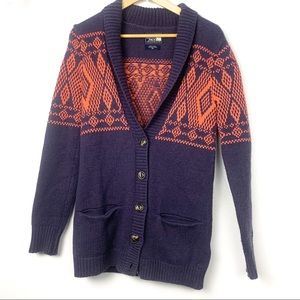 Northface sweater cardigan wool blend XS Aztec